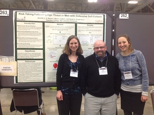 Professors Jennifer Borton and Mark Oakes (St. Lawrence U.) and Sarah Dreyer-Oren '12 at the 2014 annual meeting of the Society for Personality and Social Psychology in Austin, TX