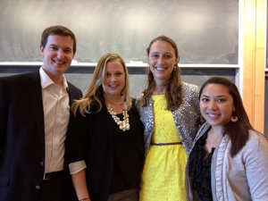 Career Panel - September, 2013; David Reiner '05, Taylor Austin '06, Cate Shafer '10, and Lennie Specht '11