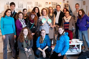 Students and faculty in Julia Jacquette's LES studio
